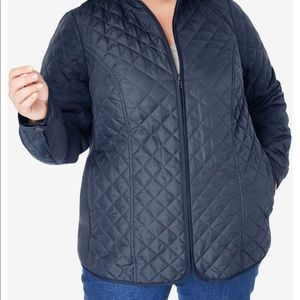 Woman Within blue quilted jacket